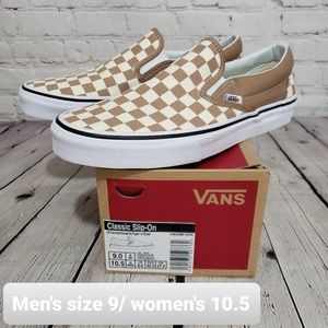 New Vans Brown Checkered Classic Slip On Shoes